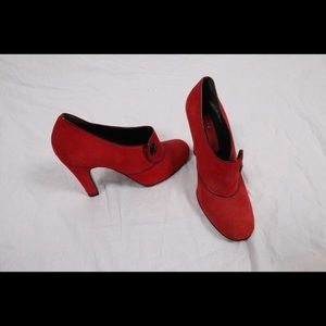 Marc by Marc Jacobs red suede heels.